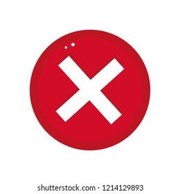 Cross button vector illustration in fat style, delete simple button