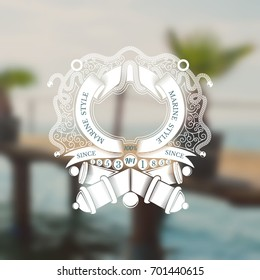 Cross cannons with cannonballs and frame from ribbon in center of line pattern. Marine vintage label on blurred sea photo background