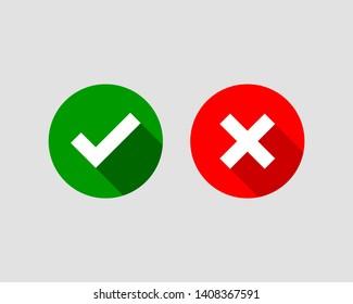Cross and check mark icon vector symbol set.