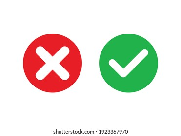 Cross  check mark icons, flat round buttons set. Vector EPS10