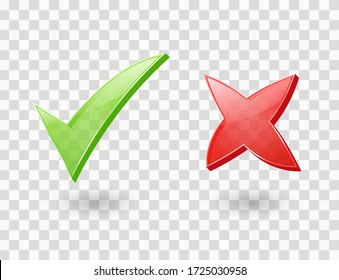 Cross and check mark icons. Green and red 3d ticks for right and wrong choice. Yes and No buttons. Vector clear symbols of correct choose and cancel, accept and reject. Positive and negative signs