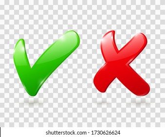 Cross and check mark icons. Green and red 3d ticks for right and wrong choice. Yes and No buttons. Vector glossy symbols of correct choose and cancel, accept and reject. Positive and negative signs