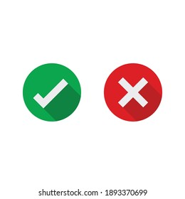 Cross and check mark icons. symbol set vector illustration.