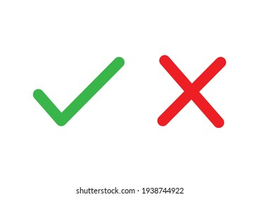 Cross and check mark simple line icon vector illustration