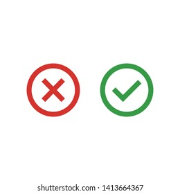 Cross and Check mark symbol icon vector illustration