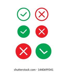 Cross and Check mark symbol icon vector design template