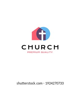 Cross christian building logo vector icon illustration dual color style