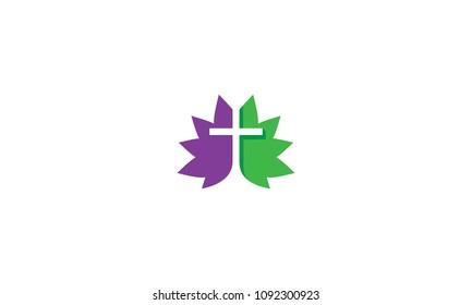 cross christian catholic leaf logo vector