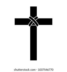 cross christian catholic paraphernalia  icon image vector illustration design  black and white