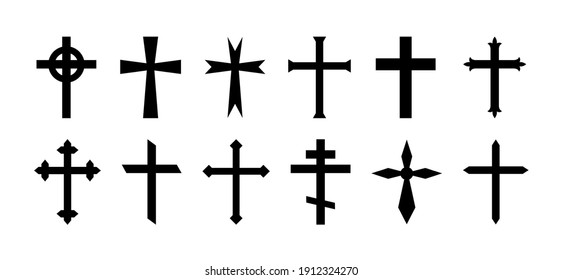 Cross of christian crucifix. Icon of christian cross. Symbol of church of jesus. Sign of catholic, religious and orthodox faith. Set of black gothic logos on white background. Different design. Vector