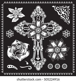 Cross Christian flowers illustration, typography, t-shirt graphics, vectors