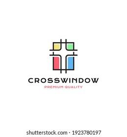 Cross christian full color window logo vector icon illustration line style