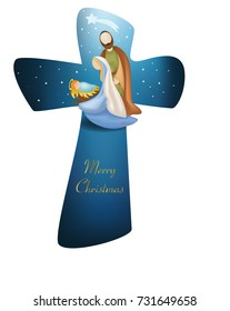 Cross christmas nativity scene with holy family on blue background