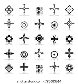 Cross, circle and square shapes. Design elements set. Abstract icons. Vector art.