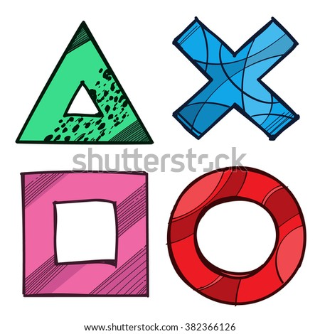 Cross Circle Square Triangle Game Pad Stock Vector Royalty Free
