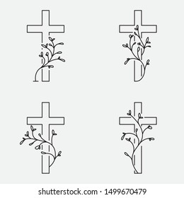 Cross collection, funeral design with flowers. Line art, editable strokes. Vector illustration EPS 10
