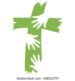 Cross concept with three hands reaching and coming together. Vector logo design for children's program.