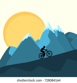 Cross country mountain bike rider uphill climb on sunset ridge peaks beautiful blue yellow nature background. XC marathon race altitude stamina strength training. Silhouette outline vector design.