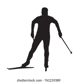 Cross country skier isolated vector silhouette. Front view