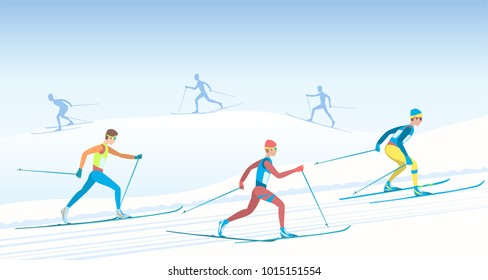 Cross country skiing. Ski race. several skiers of different teams. Athletes in various poses. Sky, hills and silhouettes of athletes. Vector illustration EPS-8.