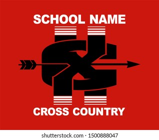 cross country team design with arrow and xc for school, college or league