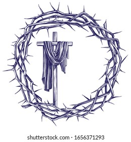 cross and crown of thorns, easter religious symbol of Christianity hand drawn vector illustration sketch