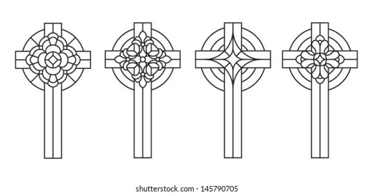 Cross with decor, a set of classic stained glass window design silhouettes, vector illustration