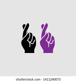 cross fingers icon color and black