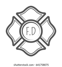 Cross Firefighter Vector Illustration In Monocrome Vintage Style Design Elements For Logo Label