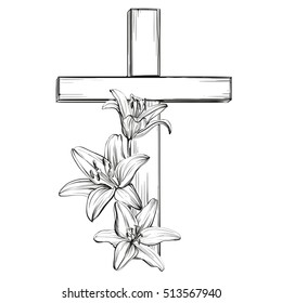 cross and floral blooming lilies, a symbol of Christianity hand drawn vector illustration  sketch