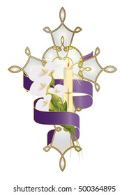 Cross with flowers, candle and purple ribbon. Christian funeral, death religious symbol decoration or ornament.