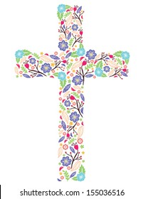 Cross with Flowers on White Background