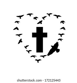 cross with flying birds. Vector