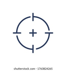 Cross in focus thin line icon. Target, sniper aim, crosshair isolated outline sign. Accuracy, goal, purpose concept. Vector illustration symbol element for web design and apps