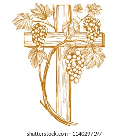 cross and grape vine, grape, , Easter . symbol of Christianity hand drawn vector illustration sketch