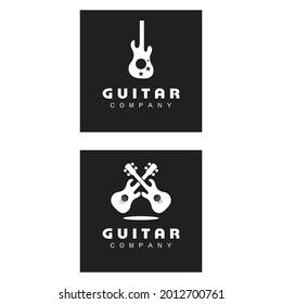 Cross Guitar Music Band Emblem Stamp Vintage Retro logo design
