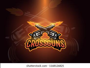Cross Guns Esports Game Logo Concept