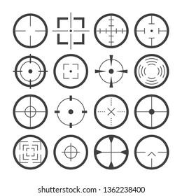 Cross hairs target symbols flat icons detailed vector set