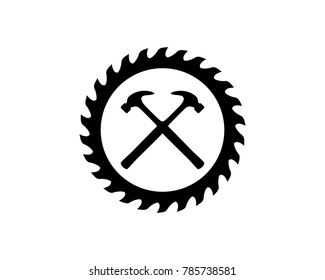 Cross Hammer and Woodworking Tools Saw Blade Circular Sawmill Blades Illustration Symbol Vector
