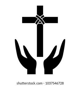 cross and hands christian catholic paraphernalia  icon image vector illustration design  black and white