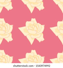 Cross hatching roses vector pattern background. Yellow and Pink floral seamless illustration.