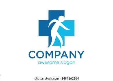 cross health sign with people concept, medical logo template, healthcare icon vector
