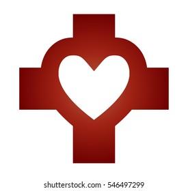 cross heart abstract christian religious symbol stock vector