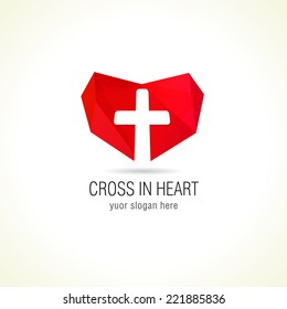 Cross and heart of faith christian church vector logo. Missionary or charity icon. Religious or hospital stained-glass symbol. Protection in medicine, help or safety sign.