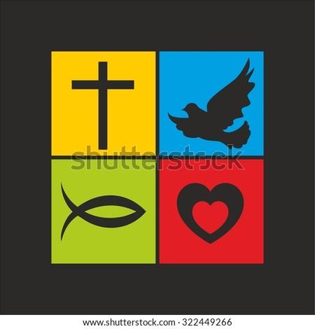 Cross Heart Fish Dove Jesus Holy Stock Vector Royalty Free