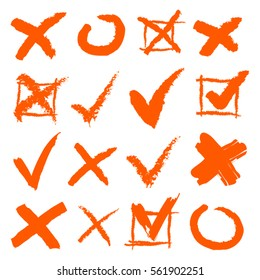 Cross and Hook Collection. Icons Set, Orange on White Background. Vector Illustration.