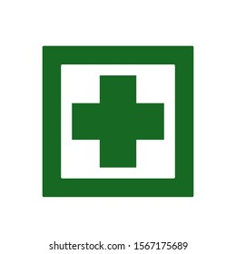 Cross hospital medical icon. First aid. Diagnostics symbol. Medicine and pharmacy Icon. Medical button. Vector Illustration.