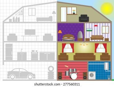 Cross house section, building interior plan. Vector illustration
