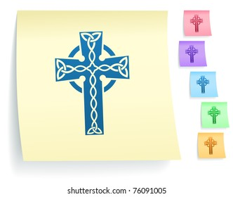 Cross Icon on Post It Note Paper Collection Original Illustration