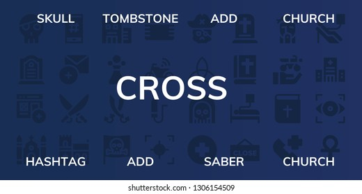 cross icon set. 32 filled cross icons. on blue background style Collection Of - Skull, Tombstone, Add, Church, Hashtag, Saber, Hospital, Poison, Sabers, Pirate, Gauze, Motorbike